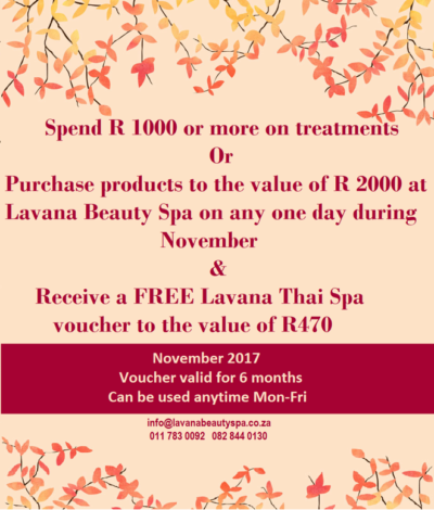 lavana beauty spa november special