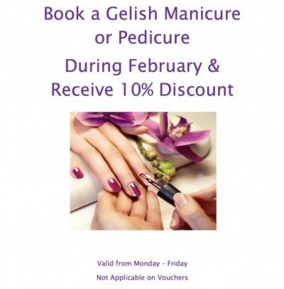 gelish manicure pedicure february 2019 special